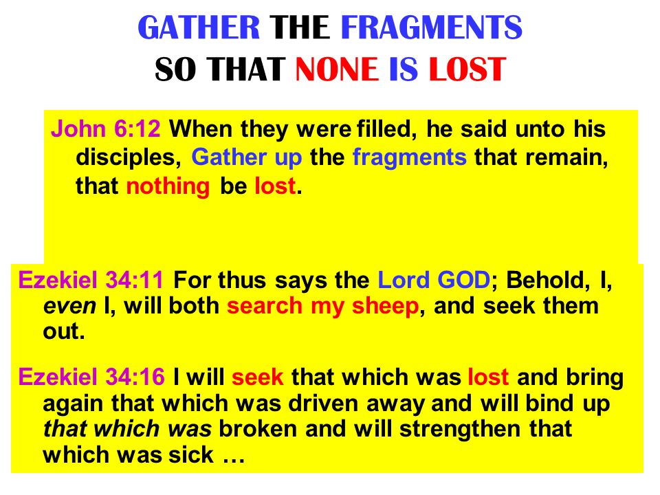 GATHER THE FRAGMENTS SO THAT NONE IS LOST