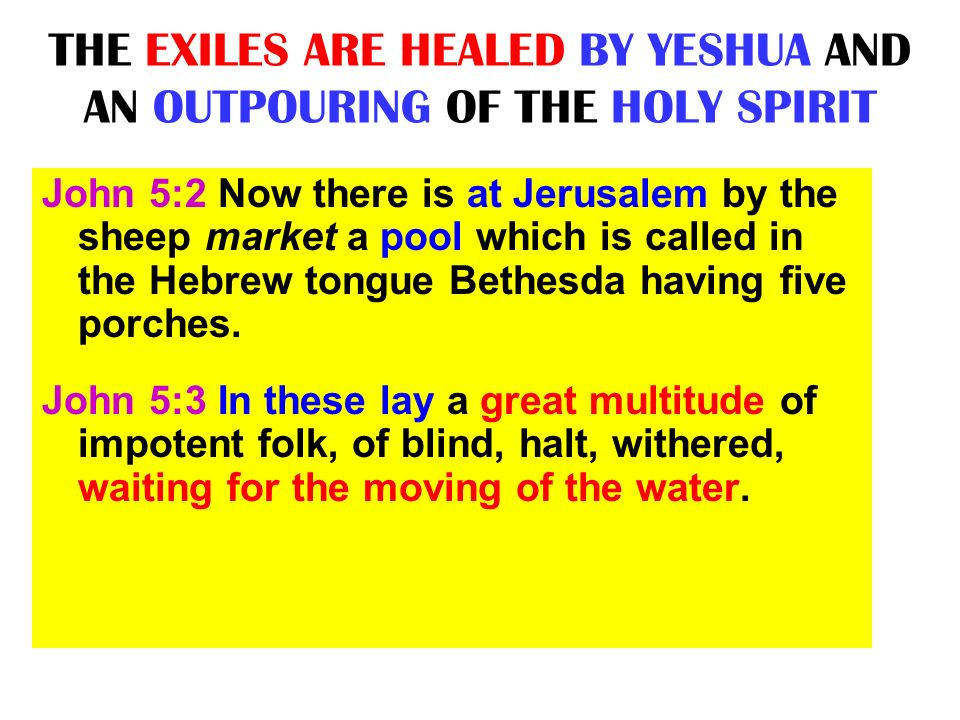 THE EXILES ARE HEALED BY YESHUA AND AN OUTPOURING OF THE HOLY SPIRIT