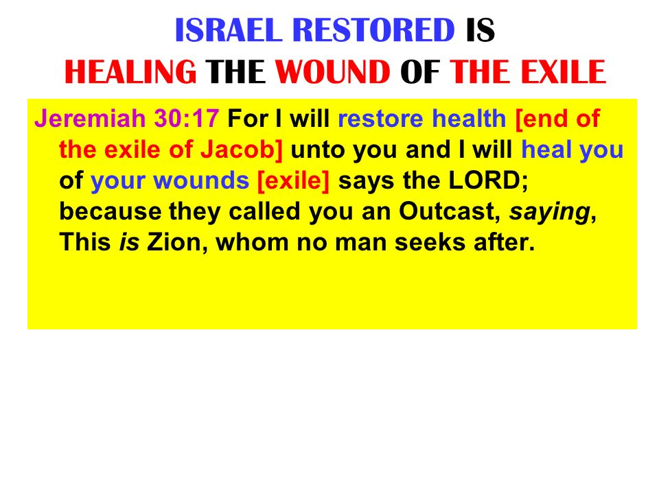 ISRAEL RESTORED IS HEALING THE WOUND OF THE EXILE