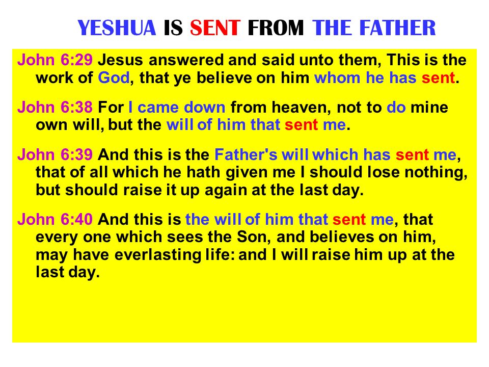 YESHUA IS SENT FROM THE FATHER