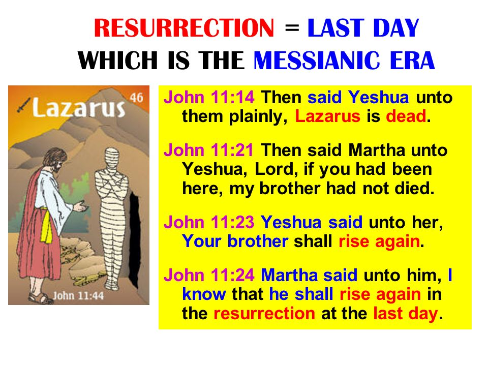 RESURRECTION = LAST DAY WHICH IS THE MESSIANIC ERA