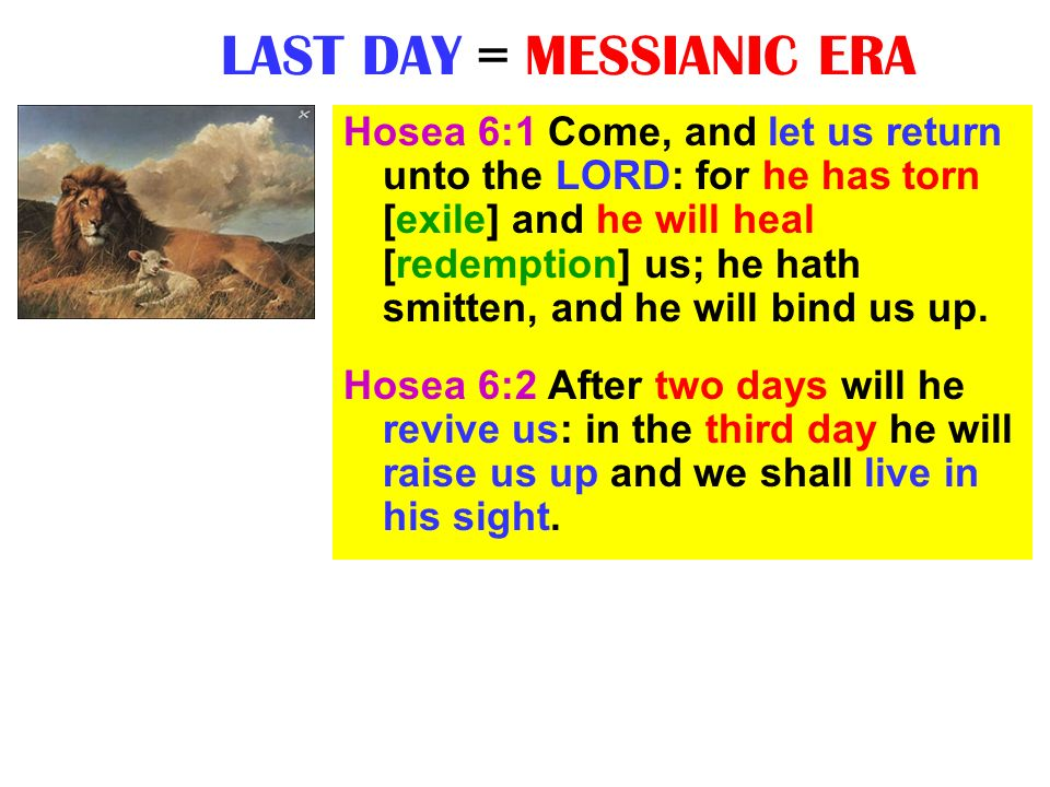 LAST DAY = MESSIANIC ERA