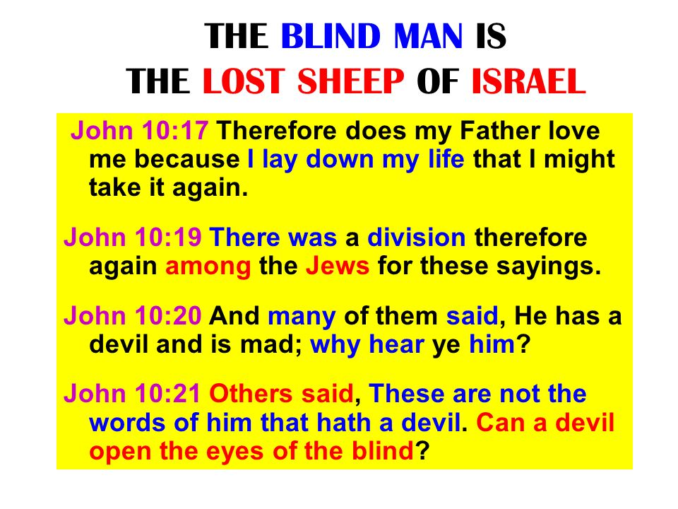 THE BLIND MAN IS THE LOST SHEEP OF ISRAEL