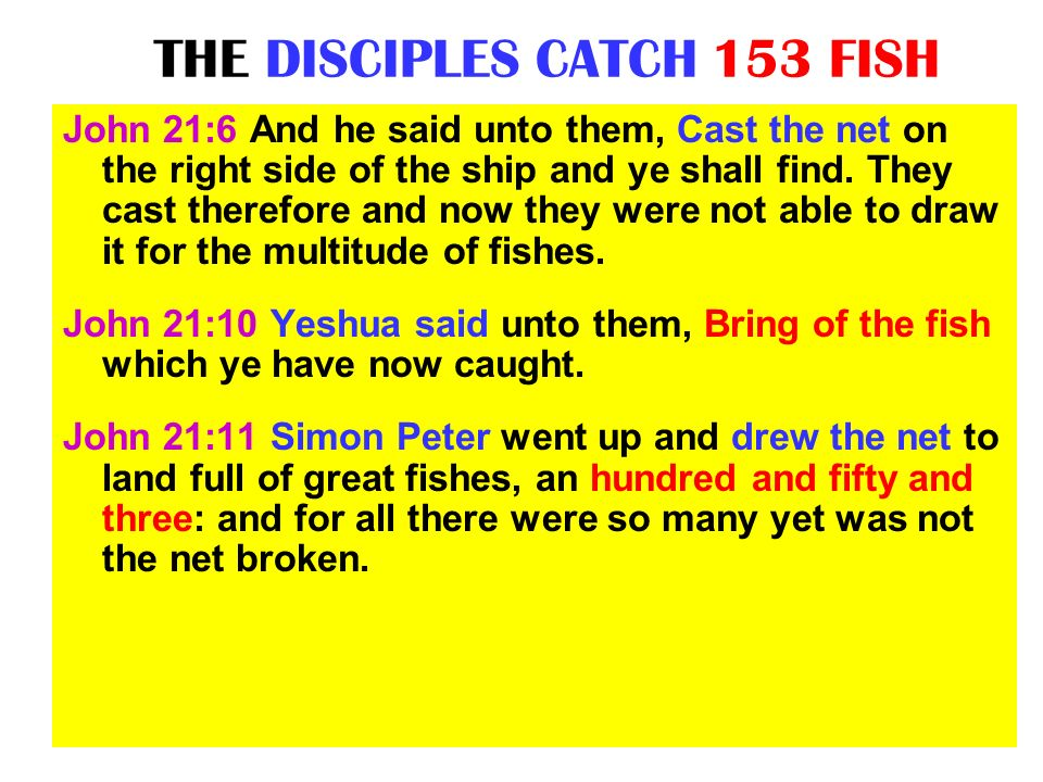 THE DISCIPLES CATCH 153 FISH