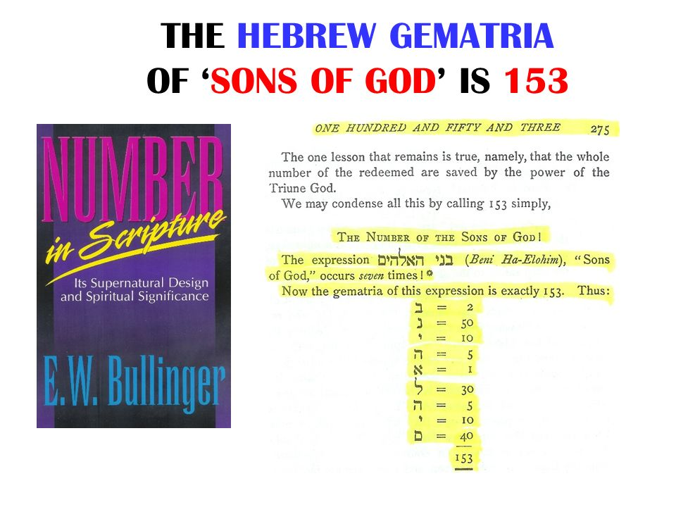 THE HEBREW GEMATRIA OF 'SONS OF GOD' IS 153