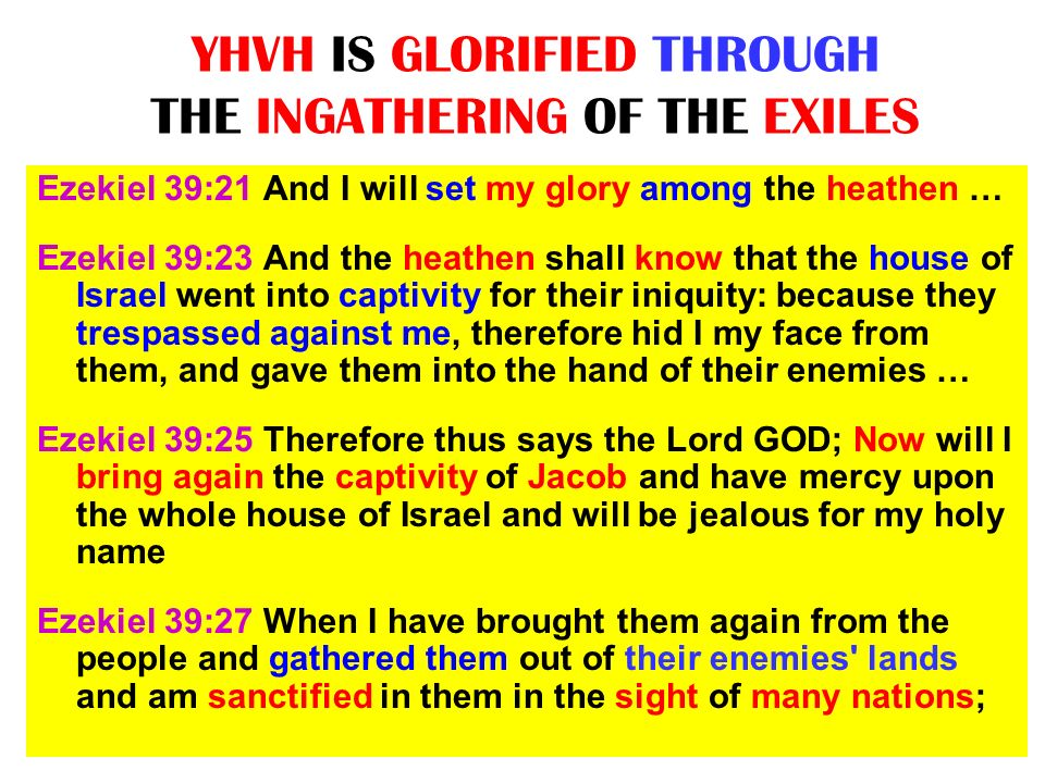 YHVH IS GLORIFIED THROUGH THE INGATHERING OF THE EXILES