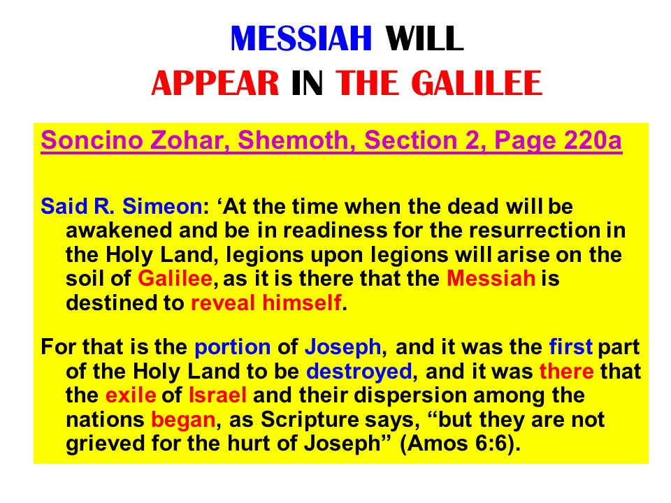 MESSIAH WILL APPEAR IN THE GALILEE