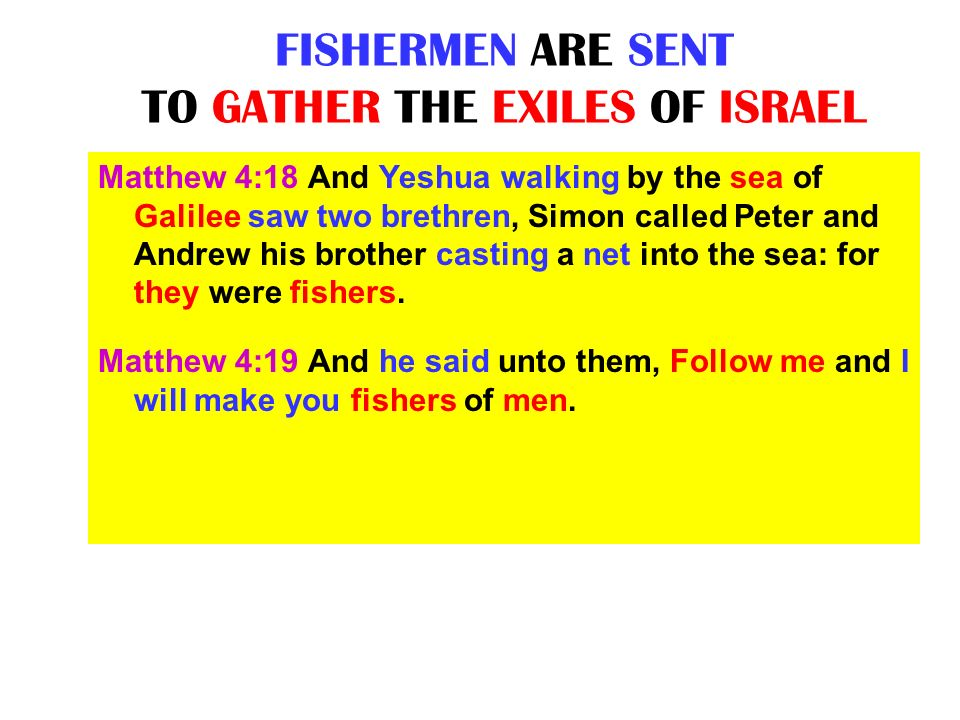 FISHERMEN ARE SENT TO GATHER THE EXILES OF ISRAEL