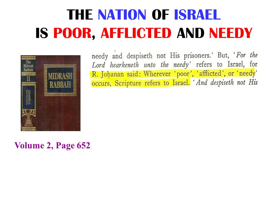 THE NATION OF ISRAEL IS POOR, AFFLICTED AND NEEDY