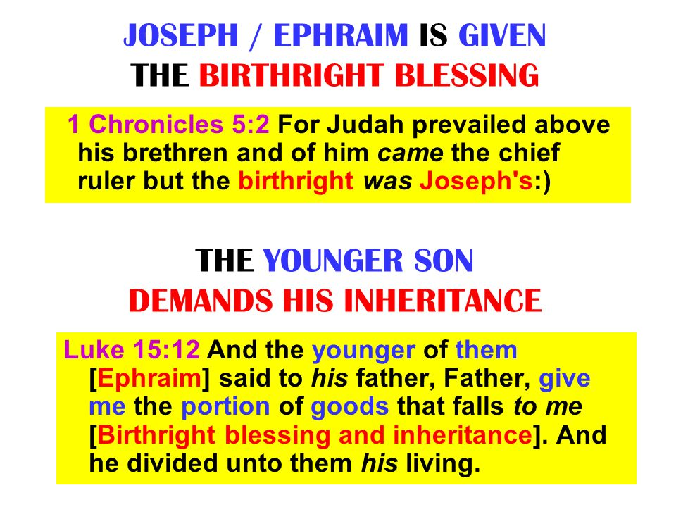 JOSEPH / EPHRAIM IS GIVEN THE BIRTHRIGHT BLESSING