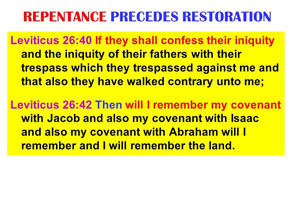 REPENTANCE PRECEDES RESTORATION