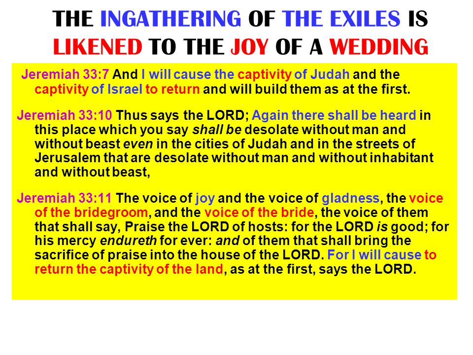 THE INGATHERING OF THE EXILES IS LIKENED TO THE JOY OF A WEDDING