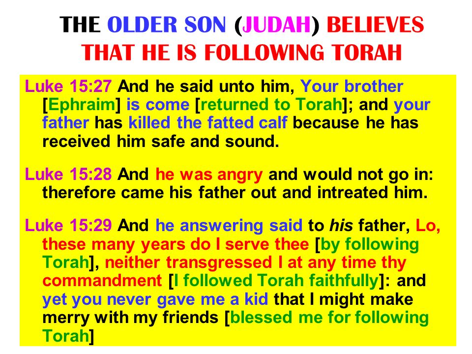 THE OLDER SON (JUDAH) BELIEVES THAT HE IS FOLLOWING TORAH