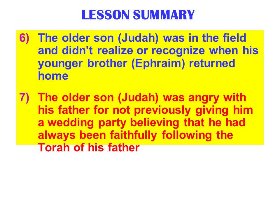 LESSON SUMMARY The older son (Judah) was in the field and didn't realize or recognize when his younger brother (Ephraim) returned home.