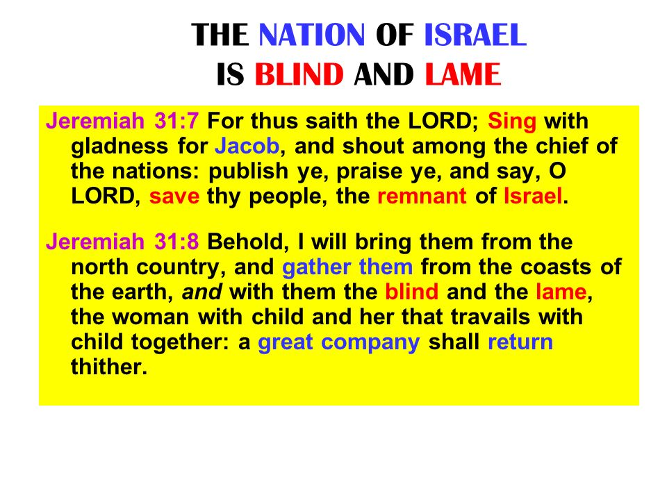 THE NATION OF ISRAEL IS BLIND AND LAME