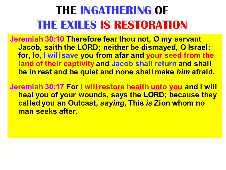 THE INGATHERING OF THE EXILES IS RESTORATION