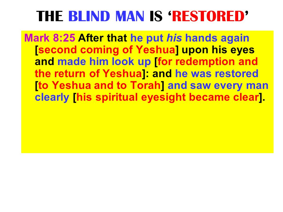 THE BLIND MAN IS 'RESTORED'