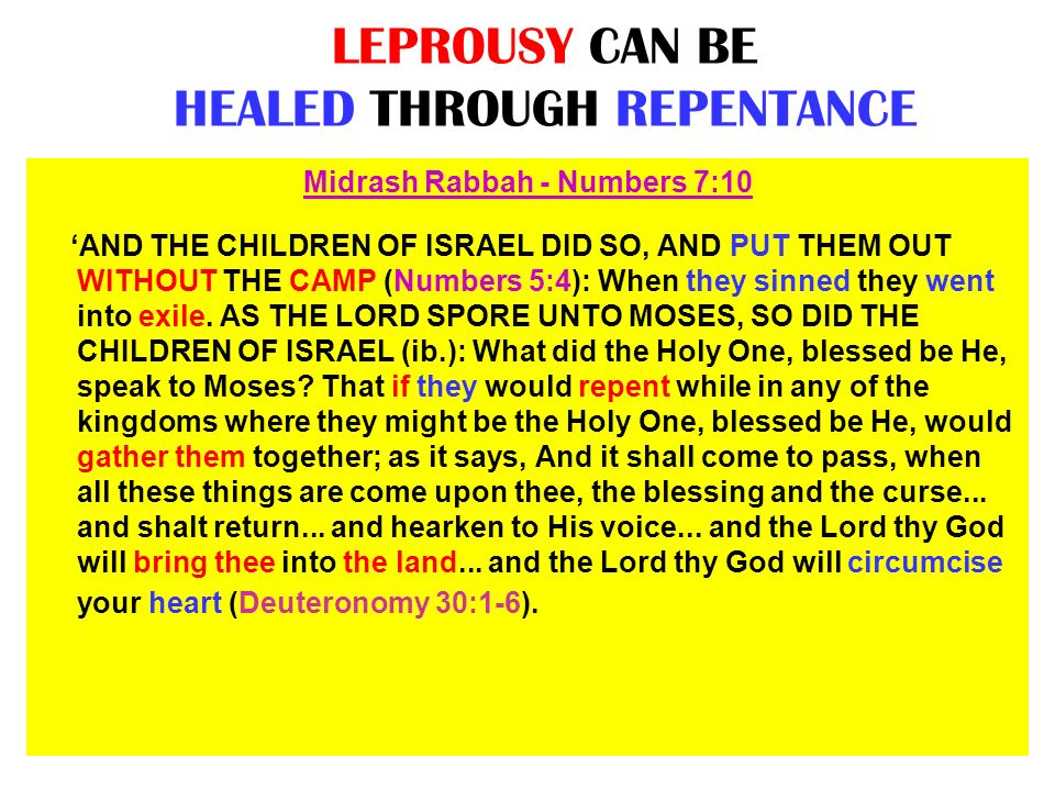 LEPROUSY CAN BE HEALED THROUGH REPENTANCE