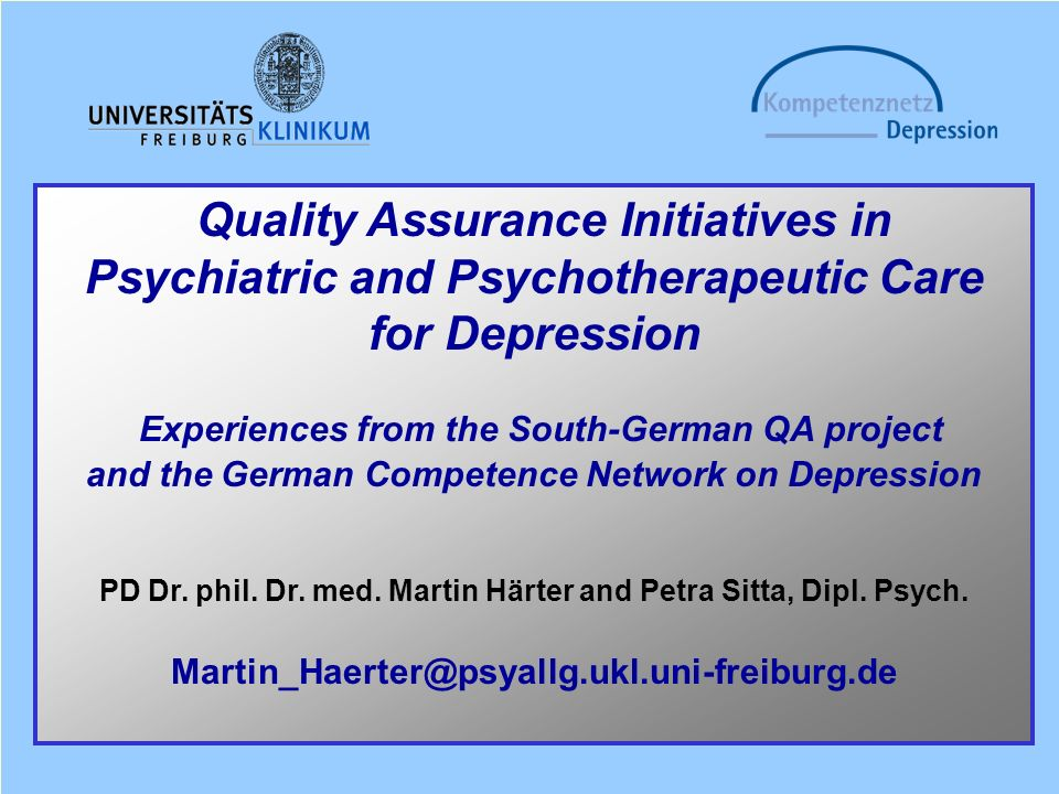 Psychiatric and Psychotherapeutic Care for Depression