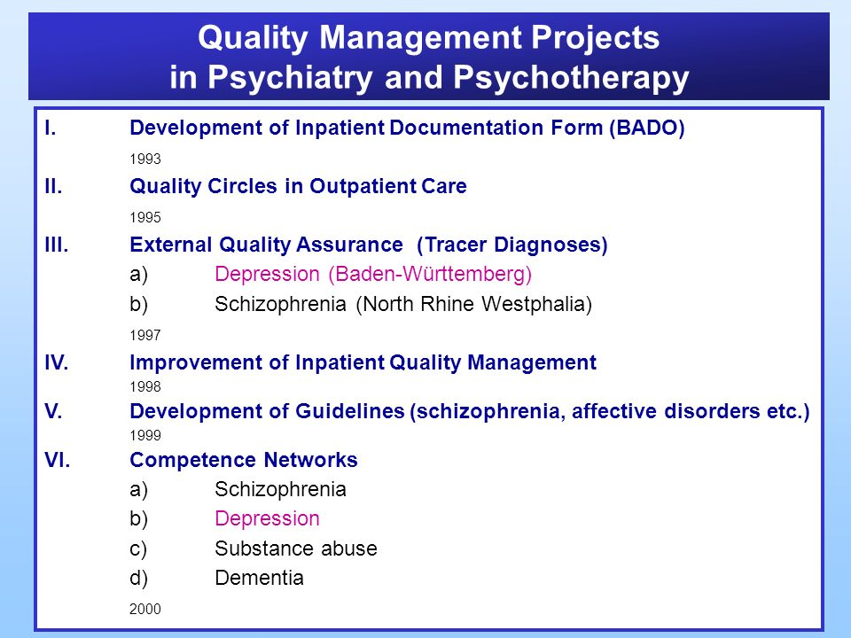 Quality Management Projects in Psychiatry and Psychotherapy