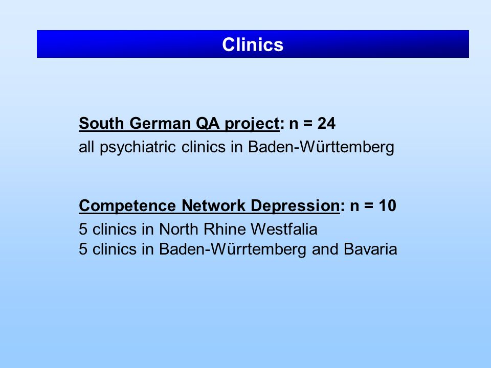 Clinics South German QA project: n = 24