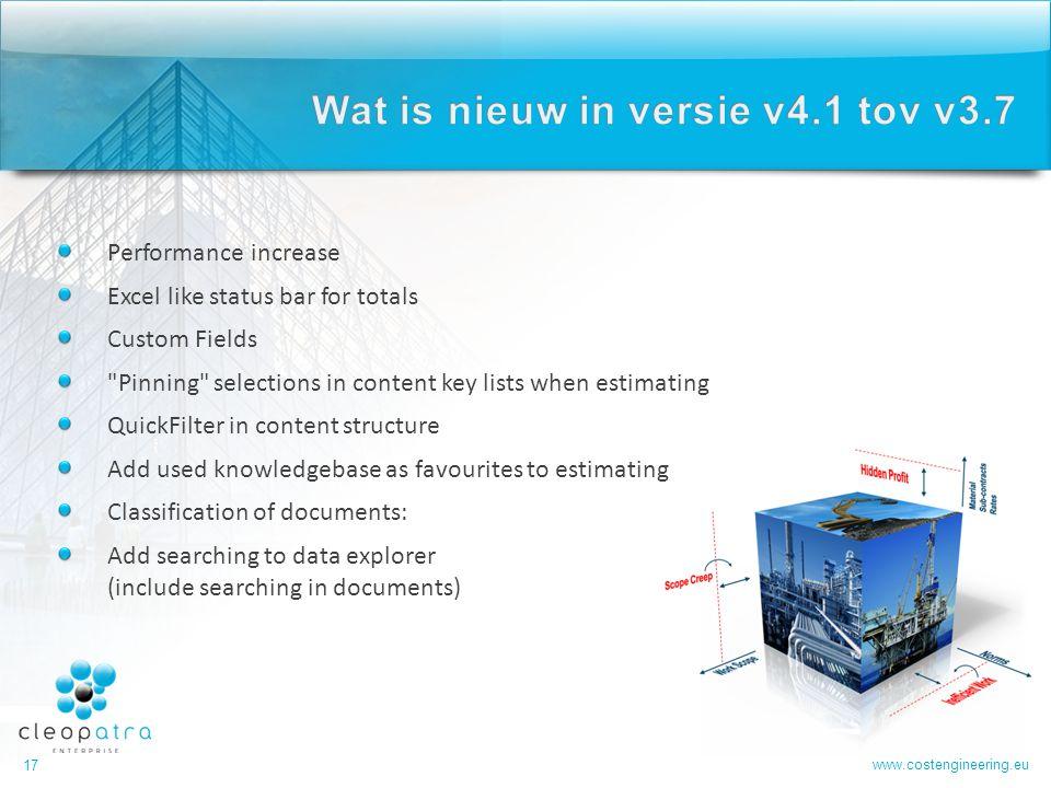 Wat is nieuw in versie v4.1 tov v3.7