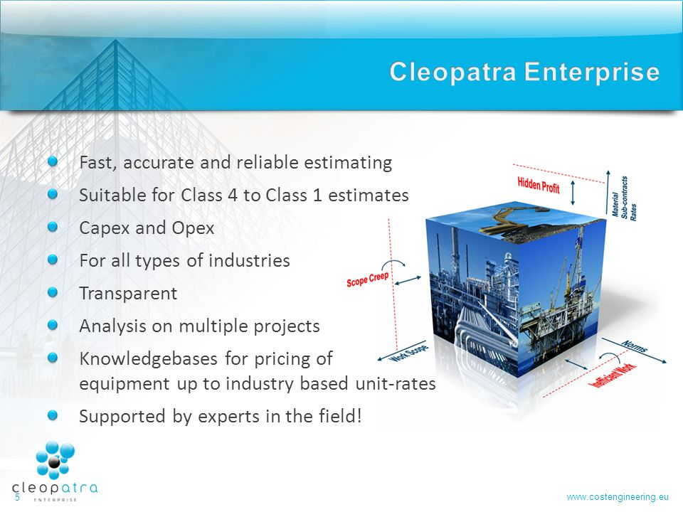 Cleopatra Enterprise Fast, accurate and reliable estimating