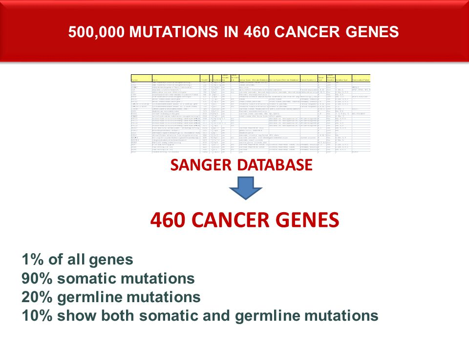 500,000 mutations in 460 cAncer genes