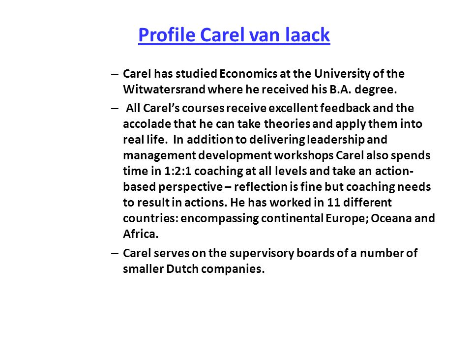 Profile Carel van laack