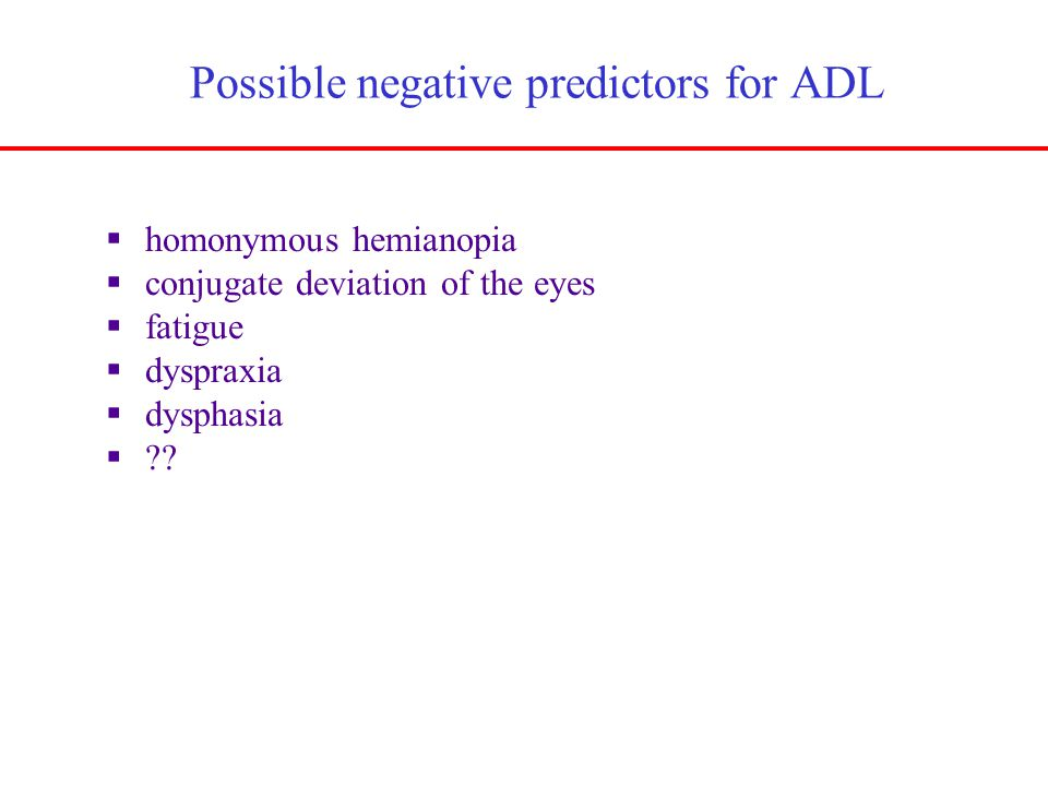 Possible negative predictors for ADL