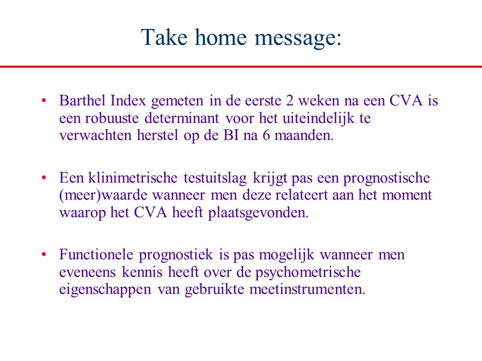 Take home message: