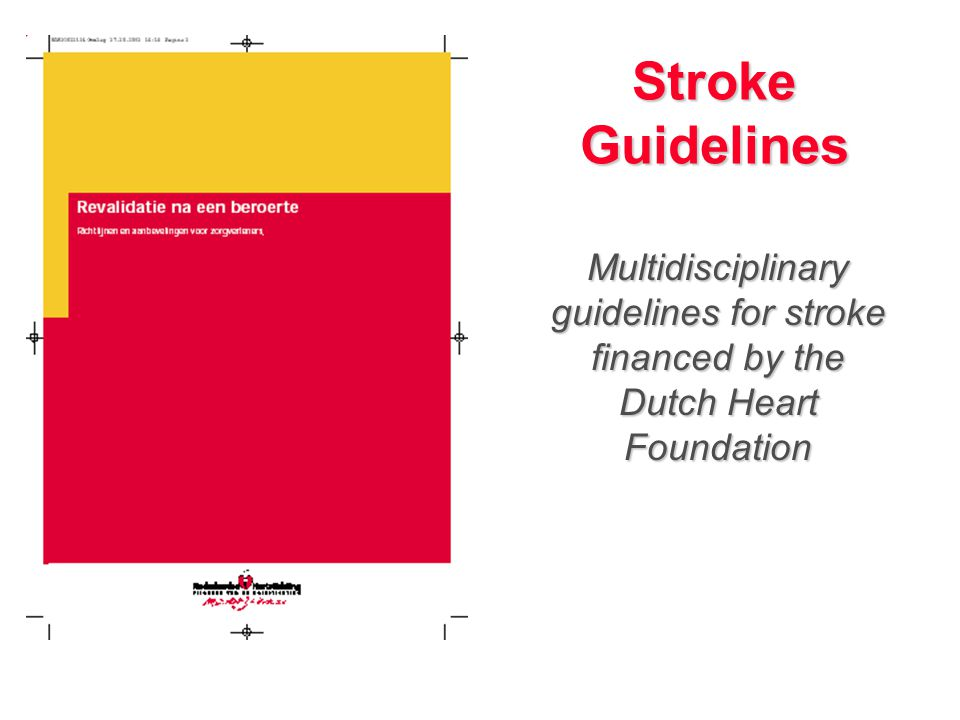 Stroke Guidelines Multidisciplinary guidelines for stroke financed by the Dutch Heart Foundation