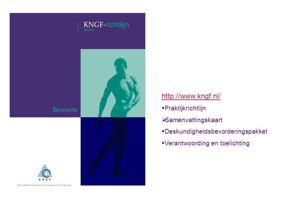 http://www.kngf.nl/ Praktijkrichtlijn Samenvattingskaart