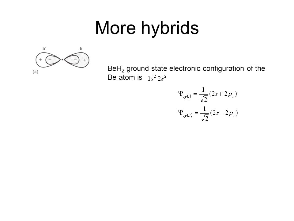 More hybrids BeH2 ground state electronic configuration of the Be-atom is. Koolstof atoom: Hybrides vormen sigma bonds met hydrogen of iets anders.