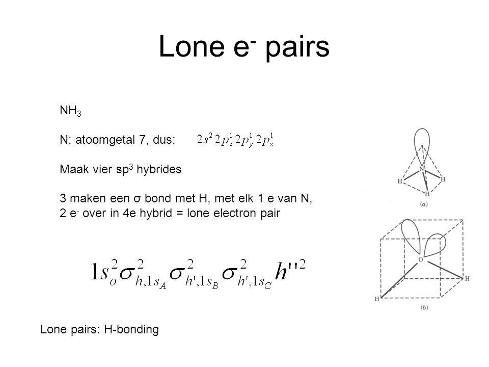 Lone e- pairs NH3 N: atoomgetal 7, dus: Maak vier sp3 hybrides