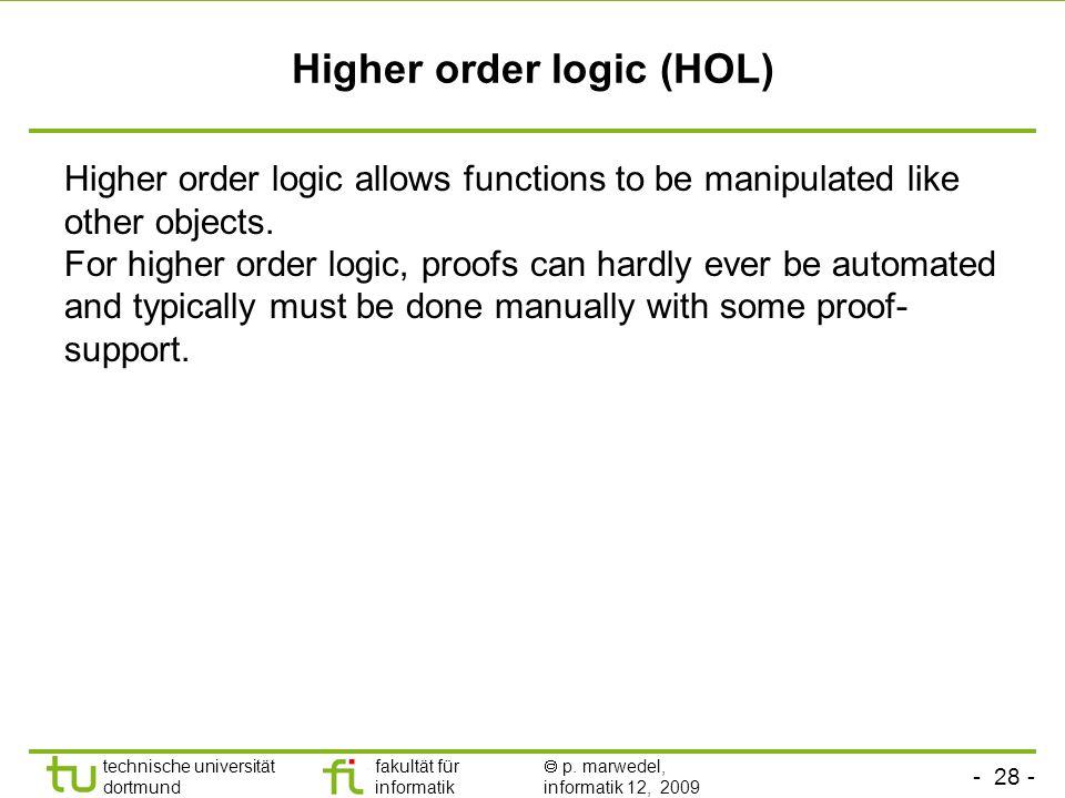 Higher order logic (HOL)