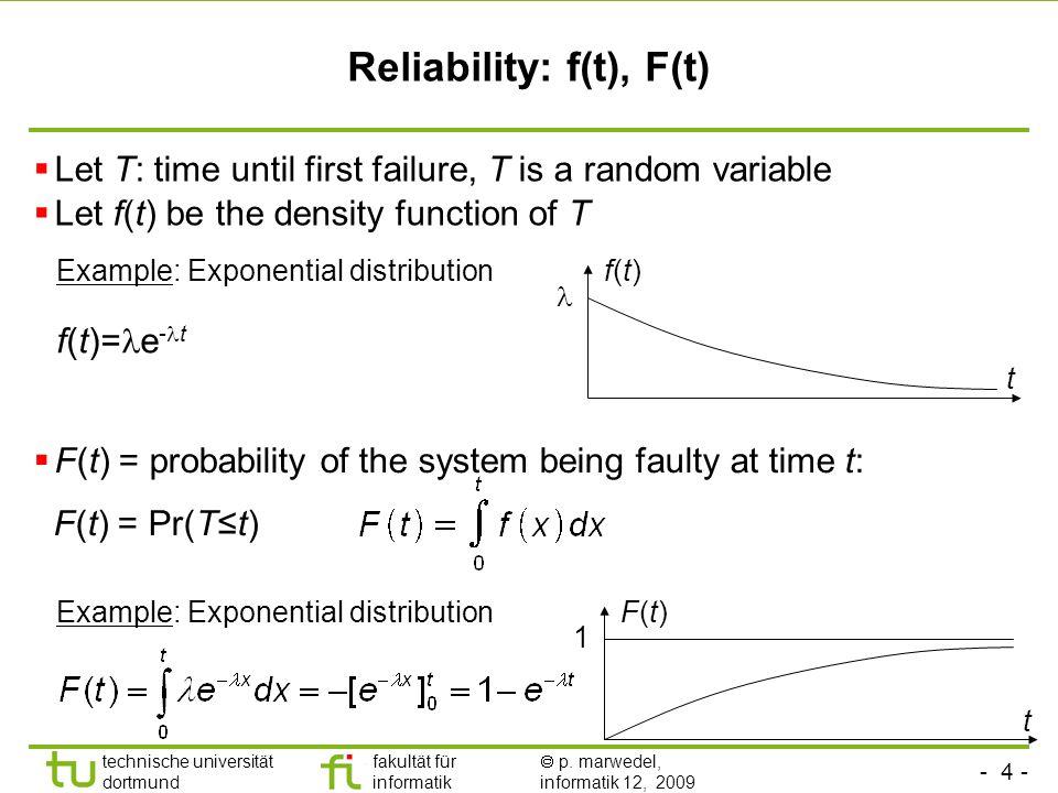 Reliability: f(t), F(t)
