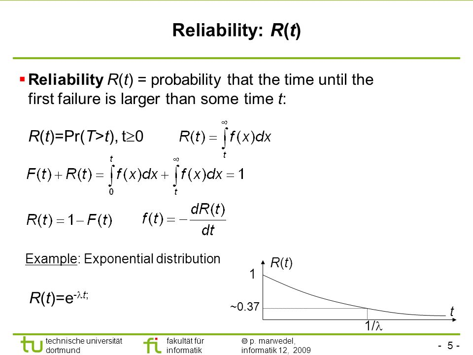 Reliability: R(t) Reliability R(t) = probability that the time until the first failure is larger than some time t: R(t)=Pr(T>t), t0.