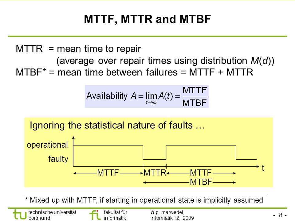MTTF, MTTR and MTBF MTTR = mean time to repair (average over repair times using distribution M(d))