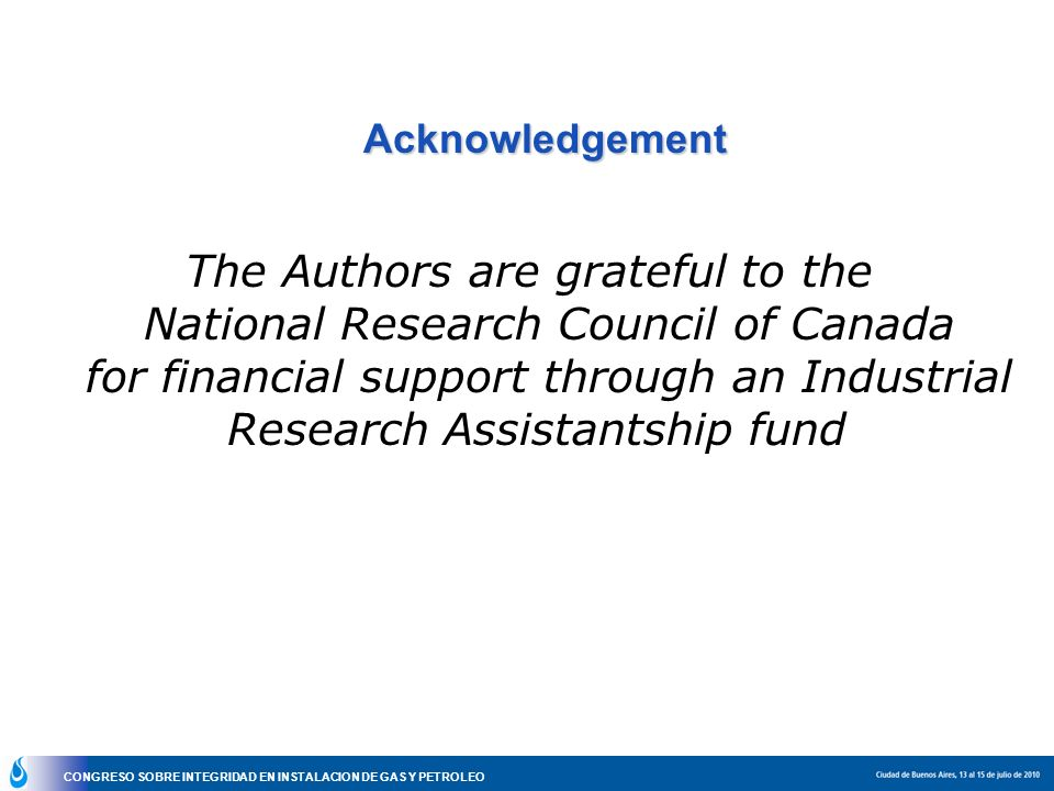 The Authors are grateful to the National Research Council of Canada