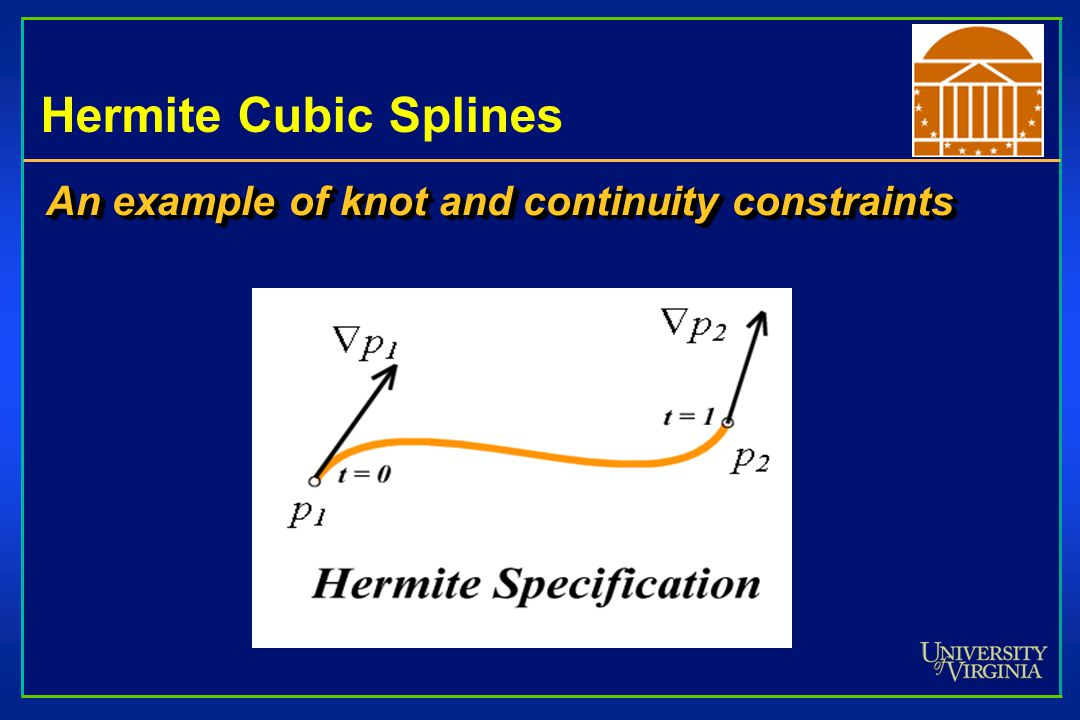Hermite Cubic Splines An example of knot and continuity constraints