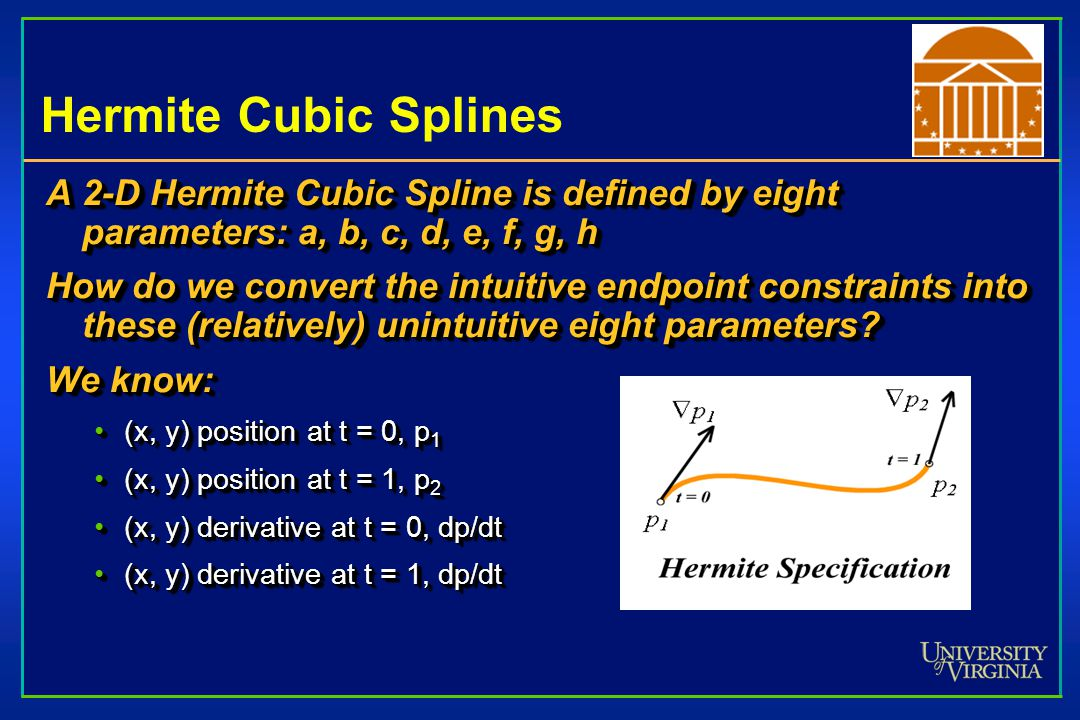 Hermite Cubic Splines A 2-D Hermite Cubic Spline is defined by eight parameters: a, b, c, d, e, f, g, h.