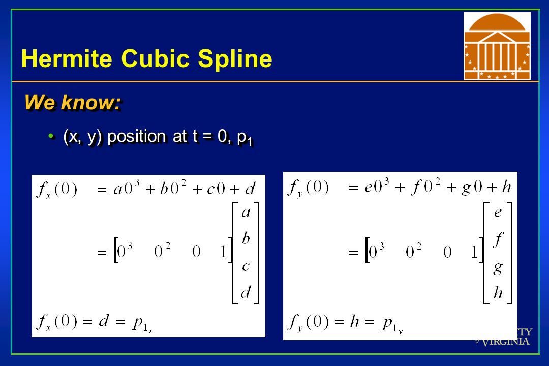 Hermite Cubic Spline We know: (x, y) position at t = 0, p1