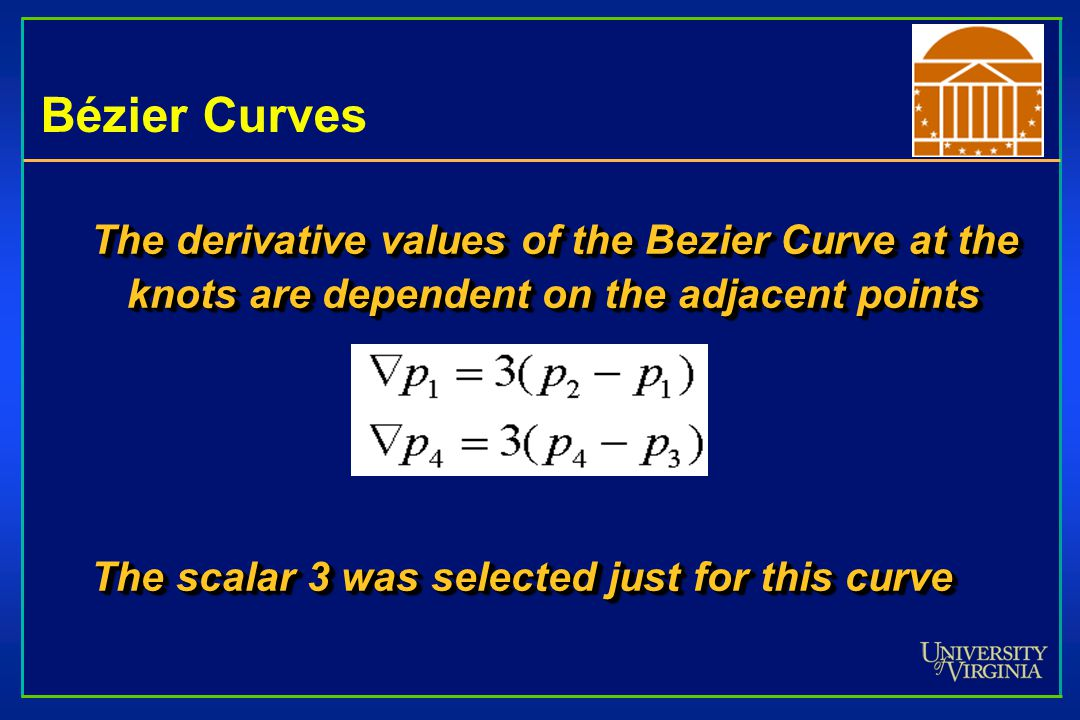 Bézier Curves The derivative values of the Bezier Curve at the knots are dependent on the adjacent points.