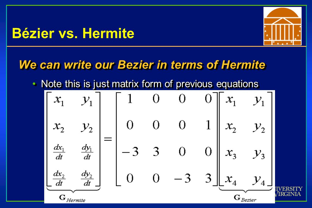 Bézier vs. Hermite We can write our Bezier in terms of Hermite