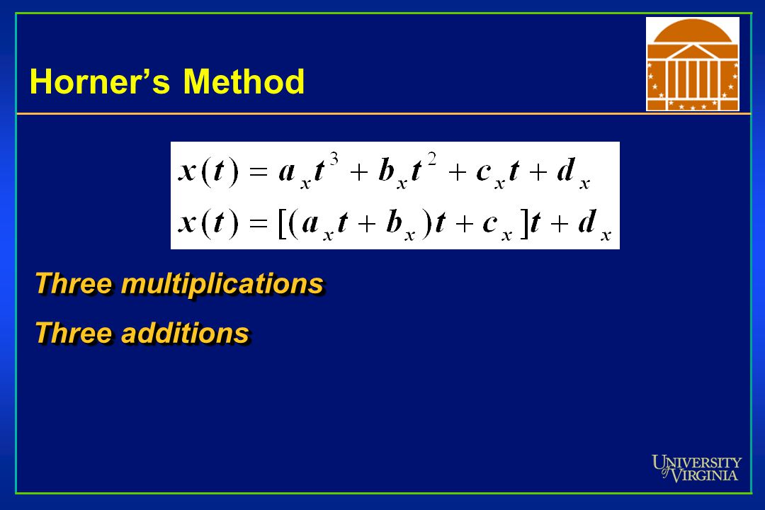 Horner's Method Three multiplications Three additions