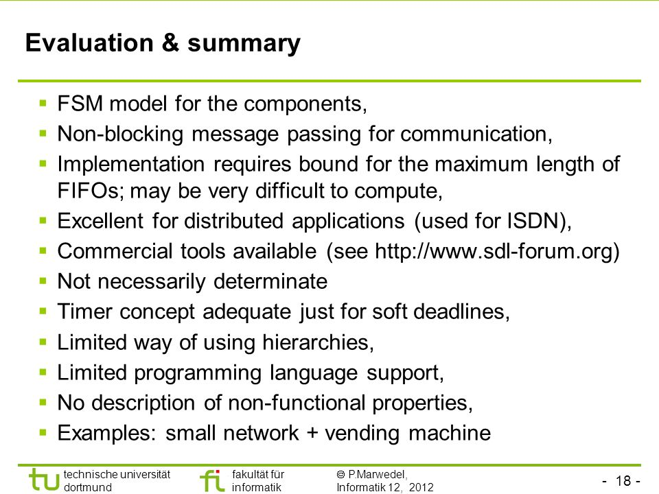 Evaluation & summary FSM model for the components,