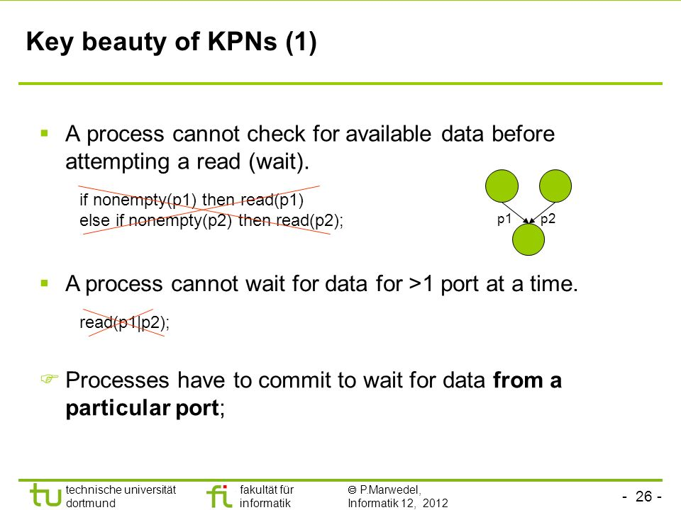 Key beauty of KPNs (1) A process cannot check for available data before attempting a read (wait). p1.
