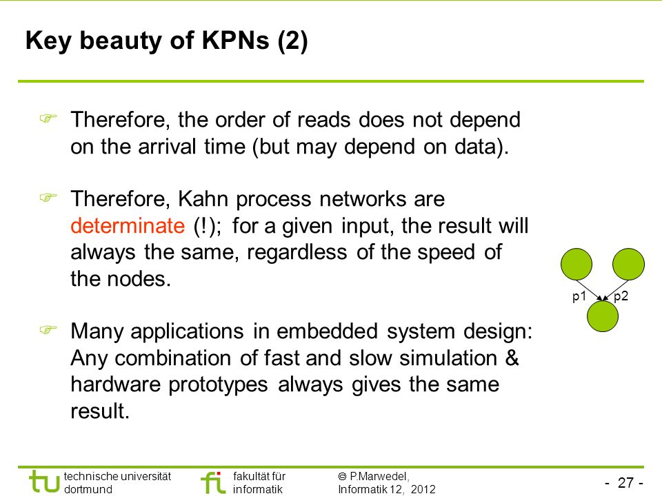 Key beauty of KPNs (2) Therefore, the order of reads does not depend on the arrival time (but may depend on data).
