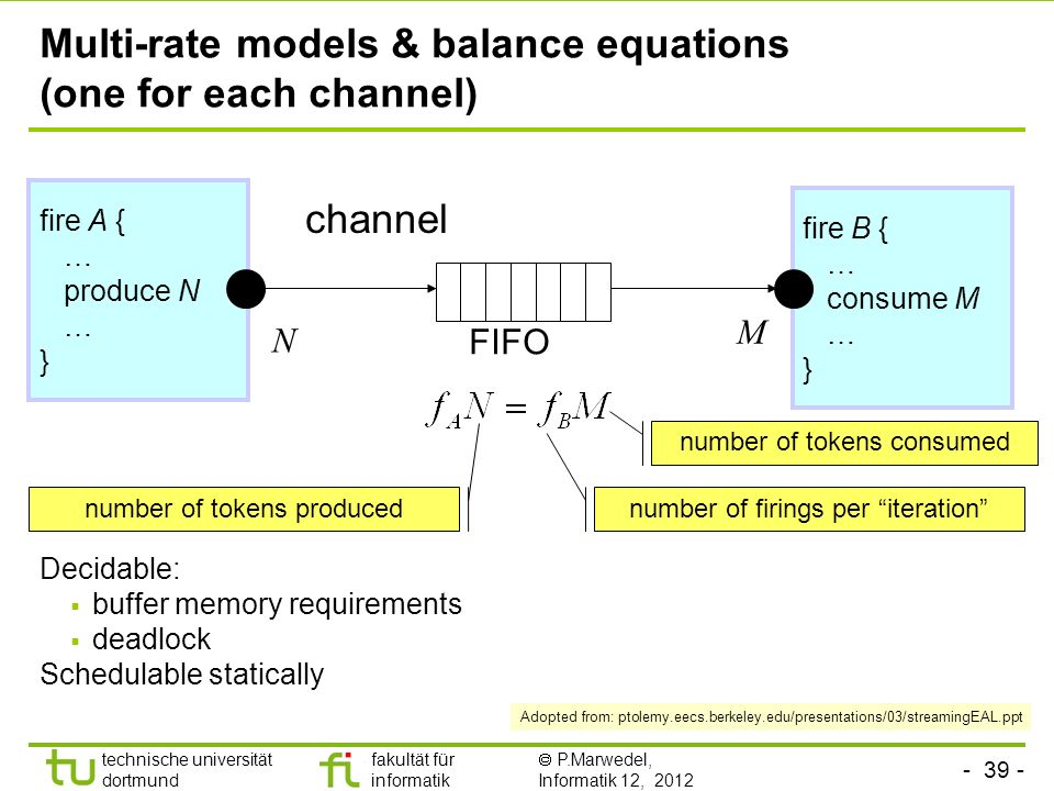Multi-rate models & balance equations (one for each channel)